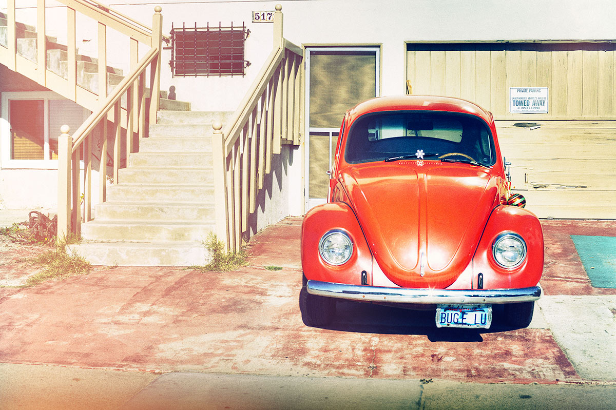 Beachy Red Volkswagen Beetle car photo from Burbbble