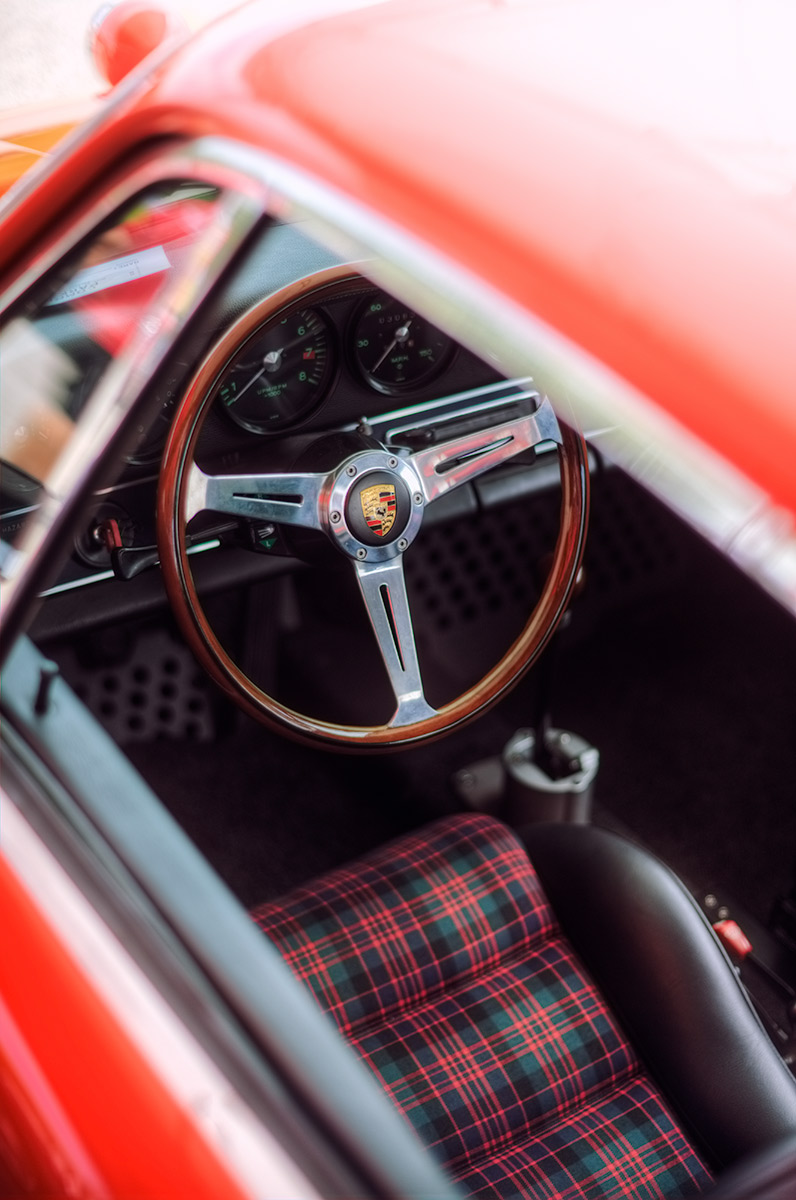 Classic red Tartan Plaid Porsche Sport Seats