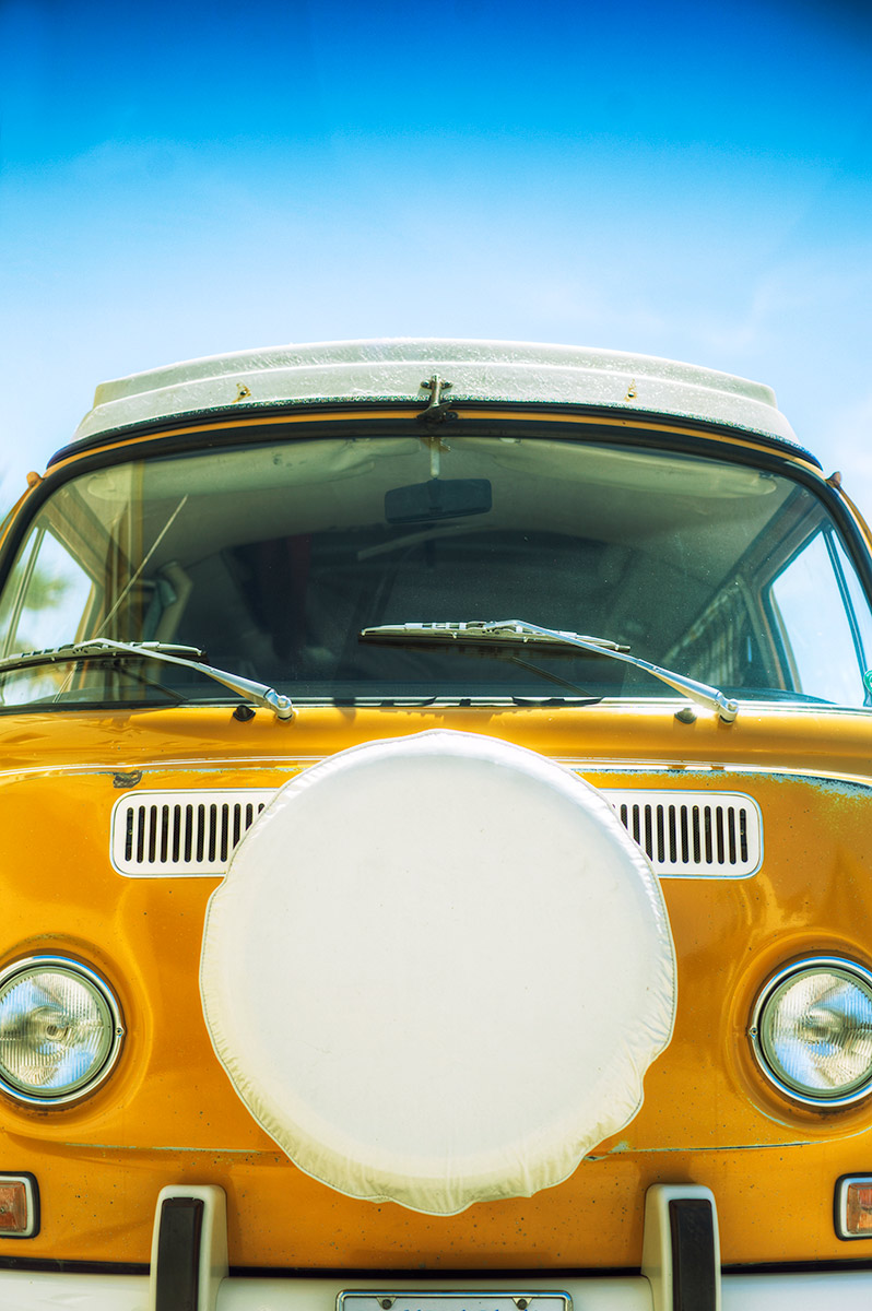 Yellow VW Bus at the Beach
