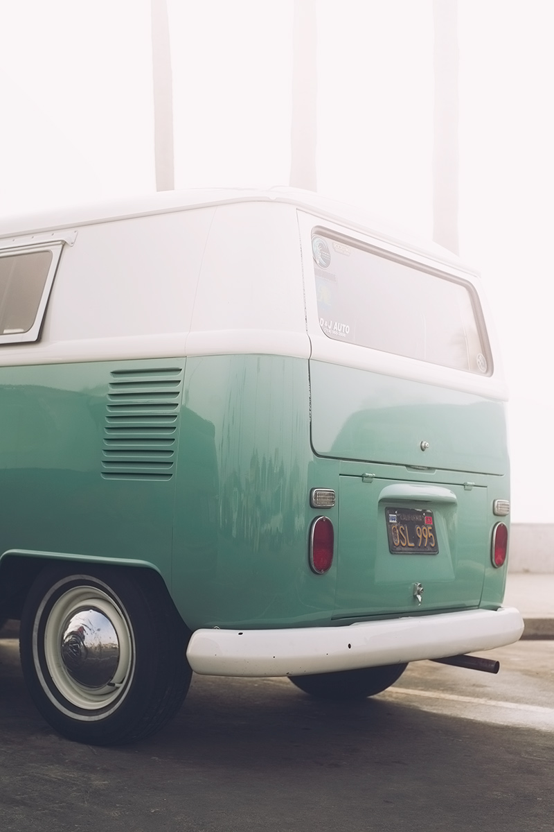Foggy Volkswagen Type 2 Bus in Newport Beach, California
