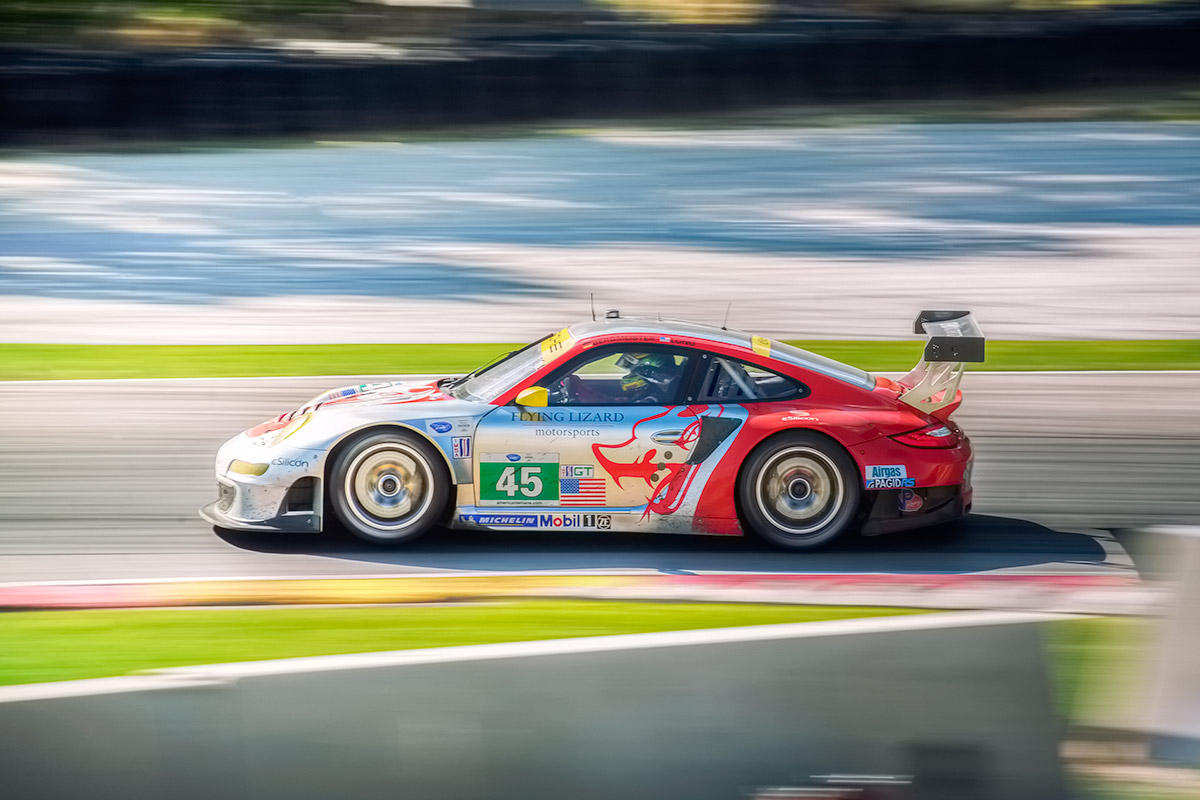 #45 Flying Lizard Porsche 997 GT3-RSR Race Car at Road America