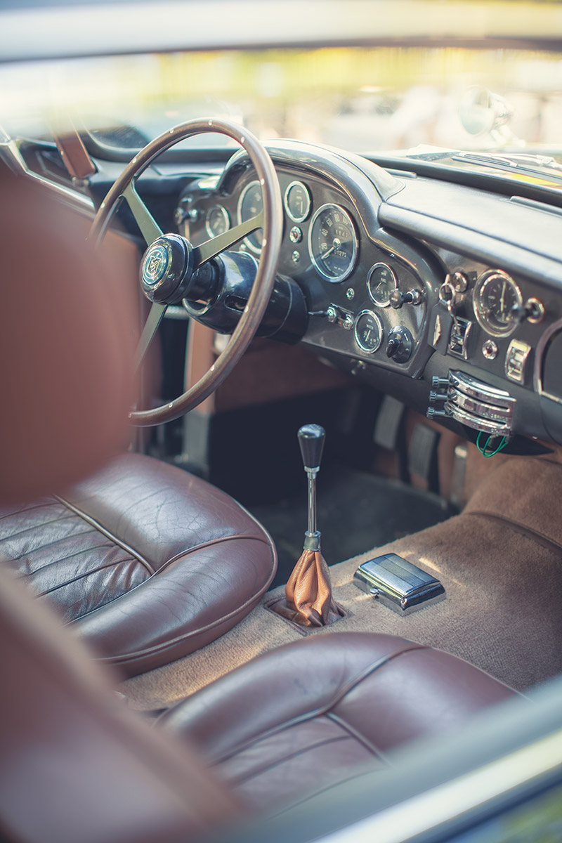 Brown interior of James Bond's choice of car. Vintage Aston Martin DB5