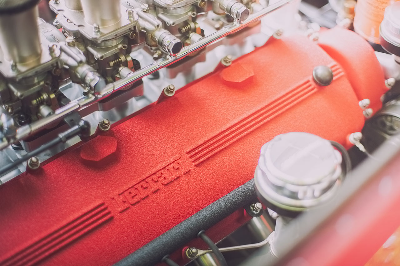 Classic crackle finish Ferrari Colombo V12 with six Weber carbs