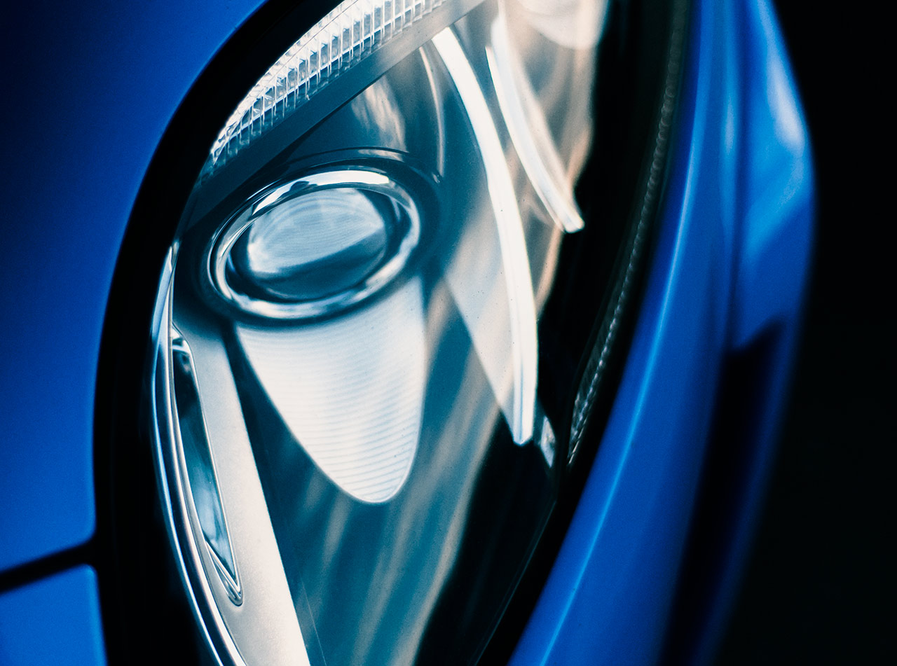 French Blue supercharged V8 Jaguar XKR-S headlight