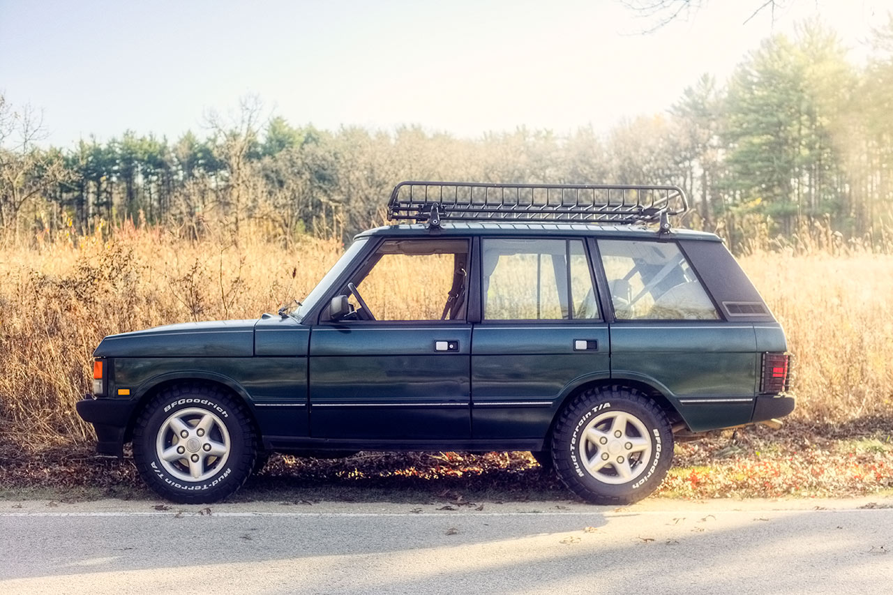 British Racing Green Range Rover Classic fall drive with BFG KM2 Mud tires