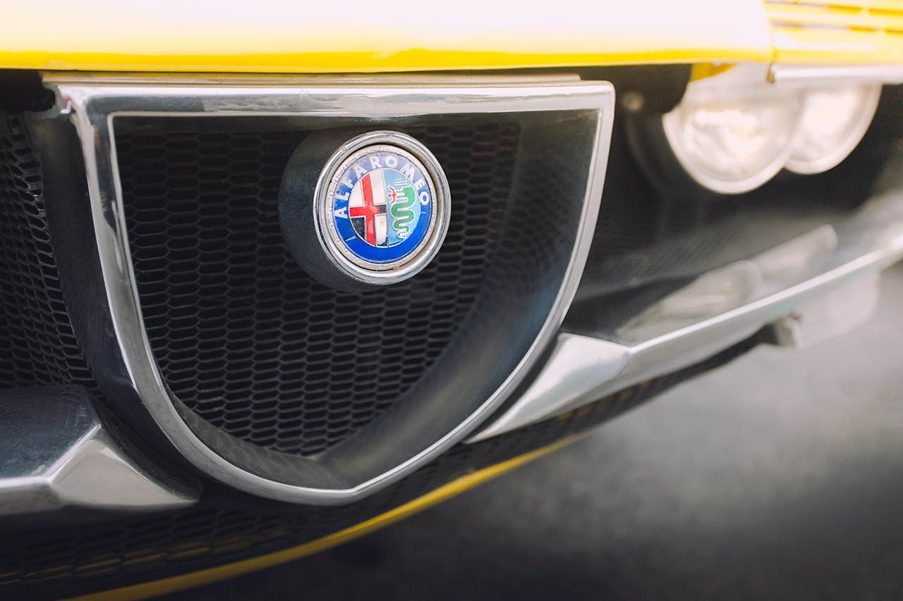 Vintage yellow Alfa Romeo Montreal grill and headlights