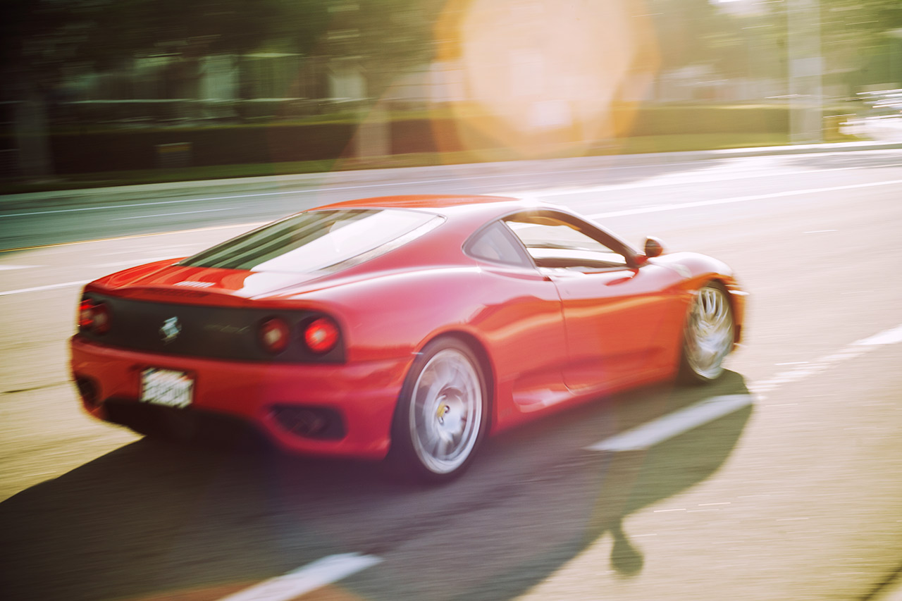 Rosso Corsa Ferrari 360 Coupe on a sunny California morning